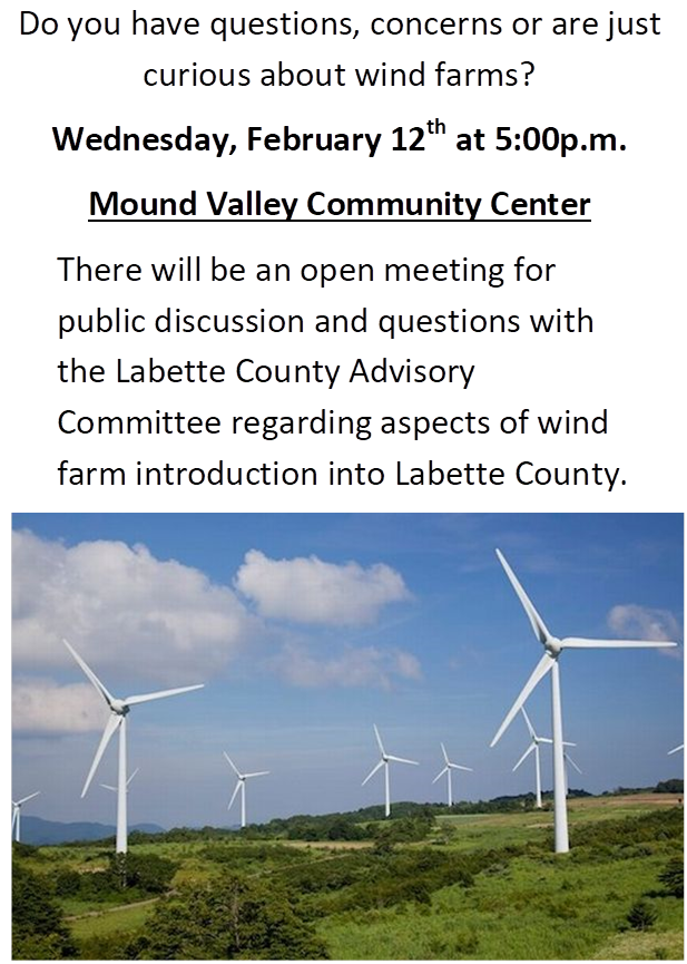 Windfarm Informational Mtg @ Mound Valley Community Center